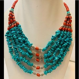 Multi layered turquoise color necklace